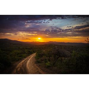 フリー写真, 風景, 夕暮れ(夕方), 夕焼け, 夕日, サバンナ, 道路, 南アフリカの風景