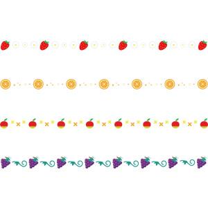 フリーイラスト, ベクター画像, AI, 飾り罫線(ライン), 食べ物(食料), 果物(フルーツ), リンゴ, 苺(イチゴ), オレンジ, 葡萄(ブドウ)