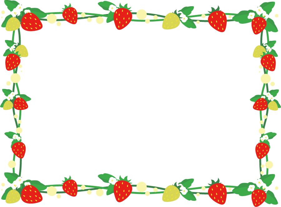 フリーイラスト いちごの赤い実と青い実と葉の飾り枠