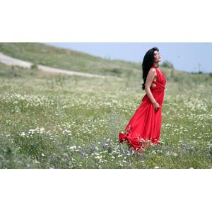 フリー写真, 人物, 女性, 外国人女性, 女性(00241), ルーマニア人, ドレス, 人と風景, 草むら, 人と花