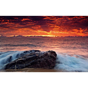 フリー写真, 風景, 自然, 海, 岩, 朝, 朝焼け