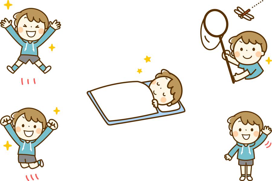 フリーイラスト 布団に入って寝るなどの5種類の男の子のセット