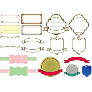 フリーイラスト, ベクター画像, AI, 飾り(装飾), メッセージカード, フレーム, 帯リボン, ラベル, 盾型