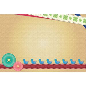 フリーイラスト, ベクター画像, AI, 背景, メッセージカード, リボン, 四つ葉のクローバー, ボタン, 小鳥, 青い鳥