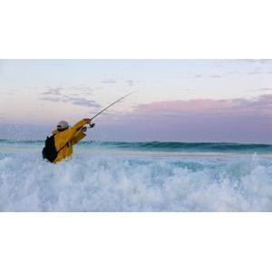 フリー写真, 風景, 海, 波しぶき, 人と風景, 魚釣り(フィッシング), 釣り竿