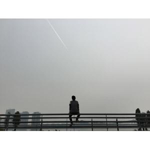 フリー写真, 人物, 男性, 後ろ姿, 眺める, 人と風景, 空, 飛行機雲