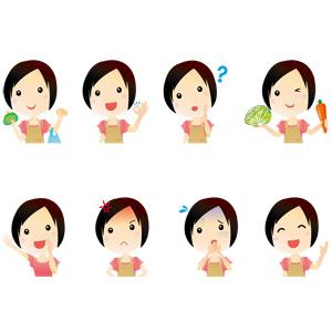 フリーイラスト, ベクター画像, AI, 人物, 女性, 主婦, 母親(お母さん), 買い物(ショッピング), OKサイン, 分からない, 調理, 応援する, 怒る, 困る, 笑う(笑顔), 案内する, キャベツ, 人参(ニンジン), エプロン, 青ざめる