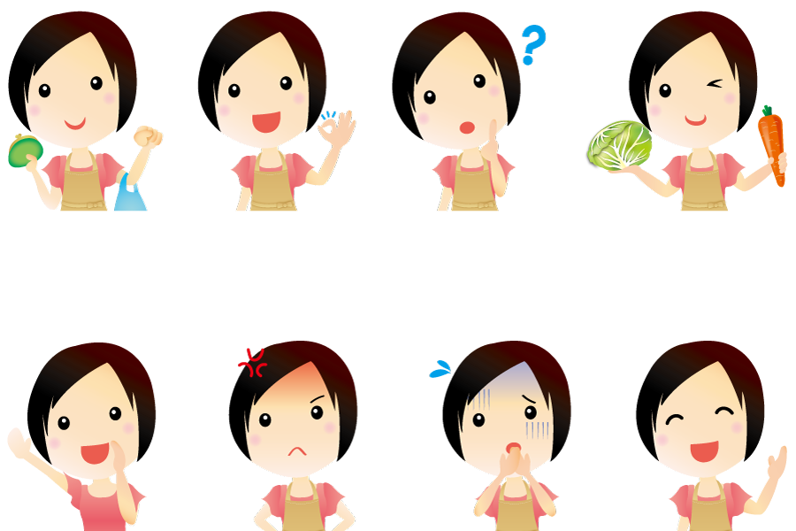 フリーイラスト 8種類の上半身の主婦のセット