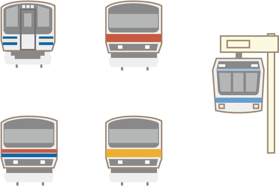 フリーイラスト 5種類の電車とモノレールのセット