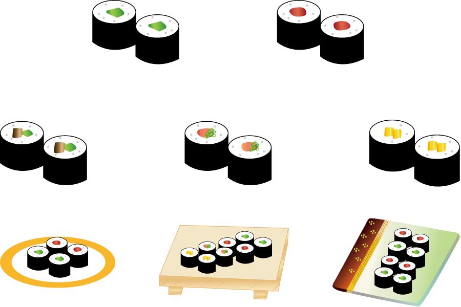 フリーイラスト カッパ巻きや鉄火巻きなどの巻き寿司のセット