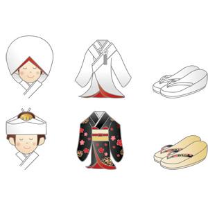 フリーイラスト, ベクター画像, AI, 結婚式(ブライダル), 和服, 白無垢, 神前結婚式, 着物, 綿帽子, 角隠し, 靴(シューズ), 草履, レディースファッション