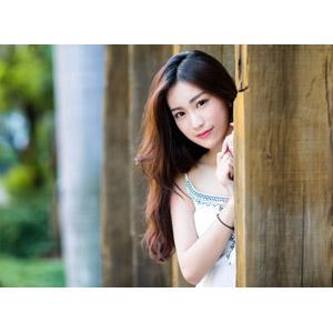 フリー写真, 人物, 女性, アジア人女性, 楚珊(00053), 中国人, 物陰, 覗く