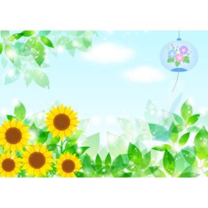 フリーイラスト, ベクター画像, AI, 背景, 夏, 風鈴, 植物, 花, 向日葵(ヒマワリ), 新緑, 葉っぱ, 青空, 輝き, 黄色の花