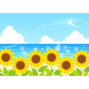 フリーイラスト, ベクター画像, AI, 背景, 夏, 植物, 花, 向日葵(ヒマワリ), 黄色の花, 海, 輝き, 青空, 積乱雲(入道雲)