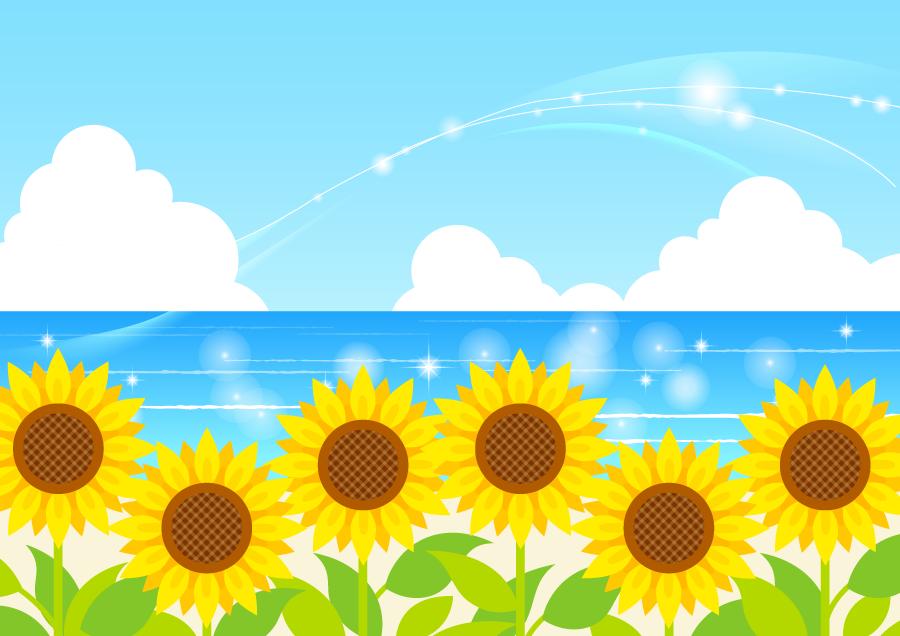 フリーイラスト ヒマワリの花と夏の海の背景