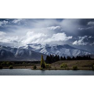 フリー写真, 風景, 自然, 山, 雪, 湖, ニュージーランドの風景, 雲