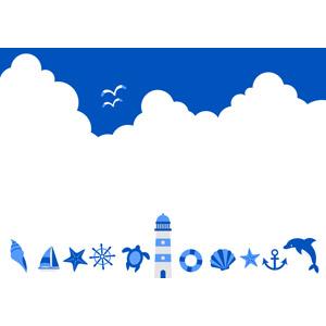 フリーイラスト, ベクター画像, AI, 背景, 夏, 青空, 雲, 積乱雲(入道雲), 貝殻, ヨット, ヒトデ, 舵, 灯台(ライトハウス), 碇, 浮き輪, イルカ, 鴎(カモメ)