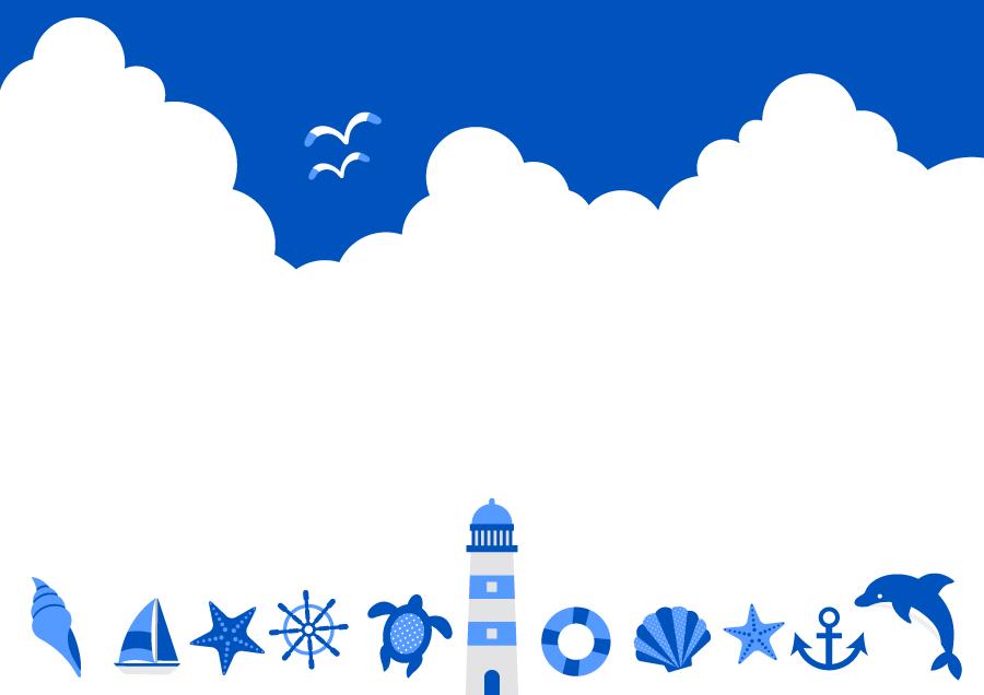 フリーイラスト 青空と入道雲とマリン関連のアイコンの背景