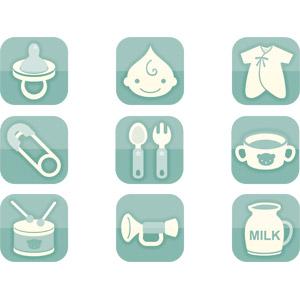 フリーイラスト, ベクター画像, AI, 育児用品, アイコン, おしゃぶり, 赤ちゃん, 顔, ベビー服, 安全ピン, フォーク, スプーン, マグカップ, 玩具(おもちゃ), 小太鼓, ラッパ, 牛乳(ミルク)