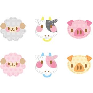 フリーイラスト, ベクター画像, AI, アップリケ(ワッペン), 動物, 哺乳類, 羊(ヒツジ), 牛(ウシ), 豚(ブタ), 動物の顔
