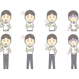 フリーイラスト, ベクター画像, AI, 人物, 少年, 少年(00259), 学生(生徒), 中学生, 学生服, 固定電話, 通話, 怒る, 胸を叩く, 腕を組む, 腹痛, 痛い, お腹を押さえる, 食あたり