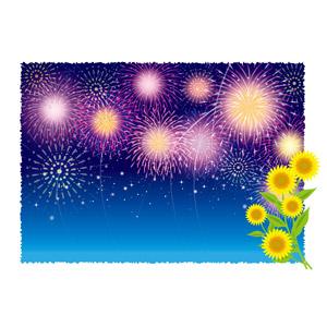 フリーイラスト, ベクター画像, AI, 背景, 花火, 打ち上げ花火, 夏, 向日葵(ヒマワリ)