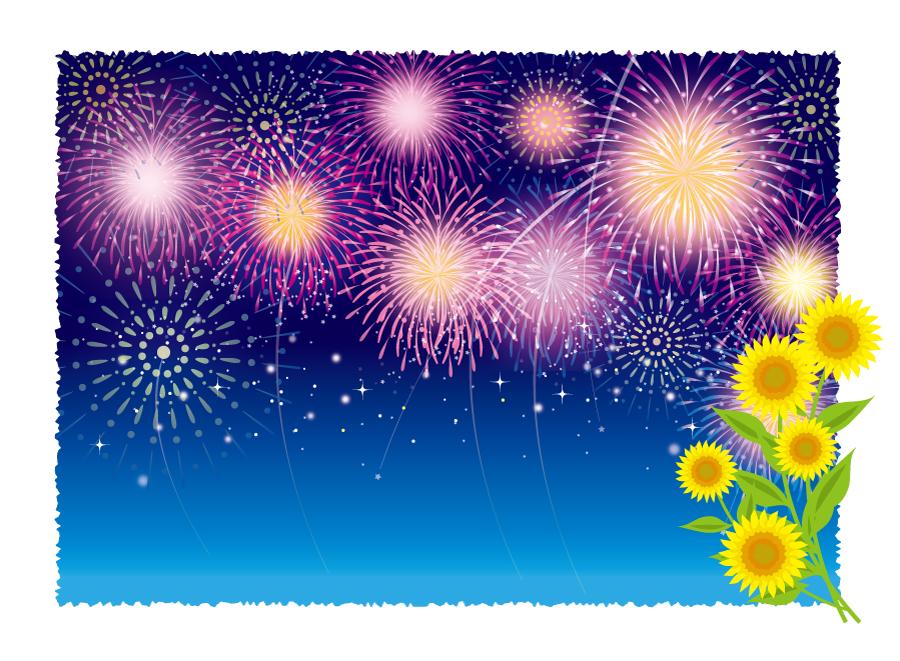 フリーイラスト 打ち上げ花火とひまわりの背景