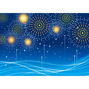 フリーイラスト, ベクター画像, AI, 背景, 花火, 打ち上げ花火, 海, 波, 波線, 夜