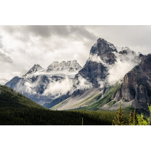 フリー写真, 風景, 自然, 山, 岩山, テンピークス, ロッキー山脈, バンフ国立公園, 世界遺産, カナダの風景, アルバータ州, 雲