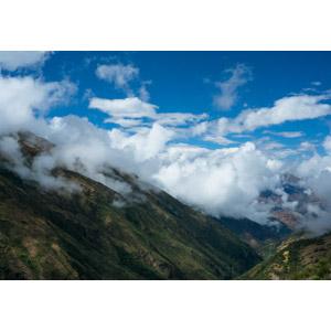 フリー写真, 風景, 自然, 山, アンデス山脈, 青空, 雲, ペルーの風景