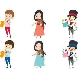 フリーイラスト, ベクター画像, AI, 人物, 男性, 女性, 仕事, 職業, 手品, 手品師(マジシャン), バイオリン(ヴァイオリン), 演奏する, バイオリニスト, 音楽, サックス(サクソフォーン), 楽器, 木管楽器, 演奏家, 弦楽器, シルクハット