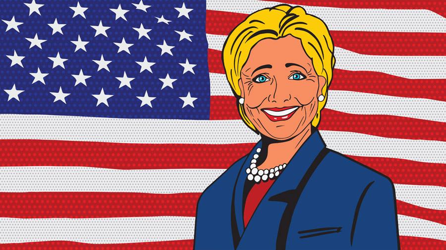 フリーイラスト 星条旗とヒラリー・クリントン