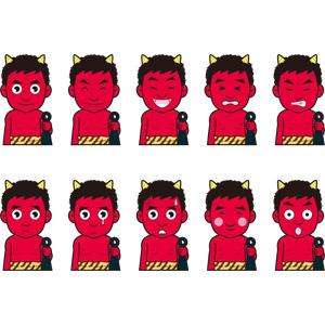 フリーイラスト, 妖怪, 悪魔(デビル), 鬼(オニ), 赤鬼, 金棒, 年中行事, 節分, 2月, 笑う(笑顔), 怒る, 困る, 焦る, 照れる, 驚く, 泣く(泣き顔), 痛い