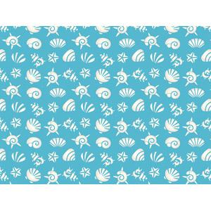 フリーイラスト, ベクター画像, AI, 背景, 貝殻, ヒトデ, 青色(ブルー)