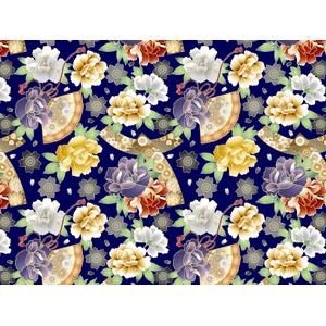 フリーイラスト, ベクター画像, AI, 背景, 和柄, 植物, 花, 牡丹(ボタン), 桜(サクラ), 扇子