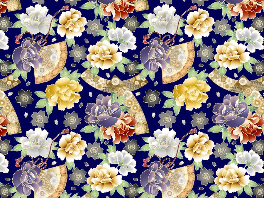 フリーイラスト 牡丹と桜と扇子の和柄背景