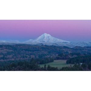 フリー写真, 風景, 山, フッド山, 夕暮れ(夕方), アメリカの風景, オレゴン州