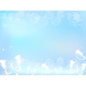 フリーイラスト, ベクター画像, AI, 背景, フレーム, 上下フレーム, 蝶(チョウ), 玉ボケ, 青色(ブルー)