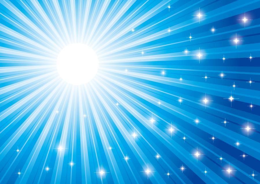 フリーイラスト 青色の閃光とキラキラ光る輝きの背景