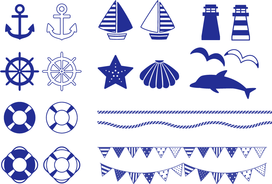 フリーイラスト ヨットや舵や碇などのマリン関連の素材セット