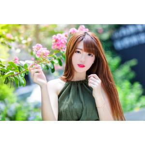 フリー写真, 人物, 女性, アジア人女性, 欣欣(00001), 中国人, 人と花