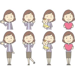 フリーイラスト, ベクター画像, AI, 人物, 中年女性, 中年女性(00267), OKサイン, ウインク, ワクワク, 孫, 赤ちゃん, ハート