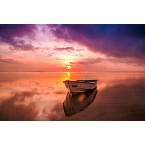 フリー写真, 風景, 海, 夕暮れ(夕方), 夕焼け, 雲, 乗り物, 船, ボート