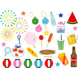 フリーイラスト, ベクター画像, AI, お祭り, 縁日, 打ち上げ花火, 水風船, ラムネ, 提灯, ビール, 西瓜(スイカ), かき氷, 綿菓子, 金魚すくい, とうもろこし(トウモロコシ), 焼きそば(やきそば), りんご飴, フランクフルト, フライドポテト, 夏祭り