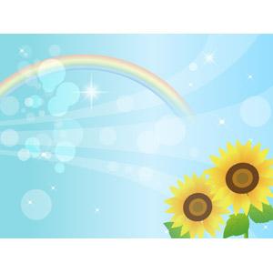 フリーイラスト, ベクター画像, AI, 背景, 青空, 虹, 植物, 花, 向日葵(ヒマワリ), 黄色の花, 夏, 玉ボケ, 輝き