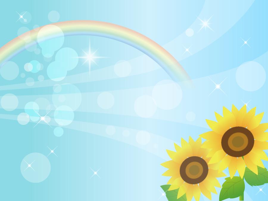 フリーイラスト ひまわりと虹と光の玉ボケの背景
