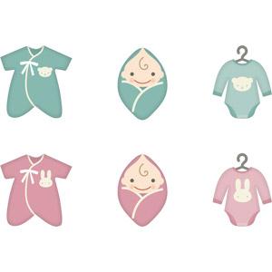 フリーイラスト, ベクター画像, AI, 人物, 子供, 赤ちゃん, 育児用品, ベビー服 , ハンガー, 衣服(衣類)
