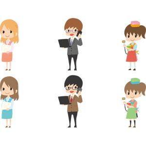 フリーイラスト, ベクター画像, AI, 人物, 女性, 男性, 仕事, 職業, ビジネス, OL(オフィスレディ), 事務服, 書類, ビジネスマン, サラリーマン, ノートパソコン, 携帯電話, コンビニ, 店員, バーコードスキャナー, スーパーマーケット