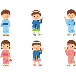 フリーイラスト, ベクター画像, AI, 人物, 子供, 男の子, 女の子, 年中行事, お祭り, 夏祭り, 盆踊り, 和服, 浴衣, 法被(はっぴ), 踊る(ダンス)