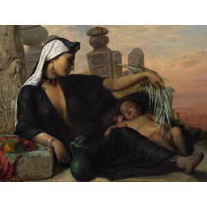 フリー絵画, アンナ・マリア・エリザベス・ジェリショー, 人物画, 親子, 母親(お母さん), 子供, 赤ちゃん, 寝る(寝顔), 農家(農民), 夕暮れ(夕方), エジプト人